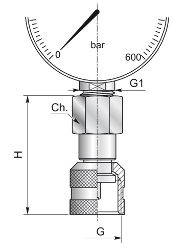 Manometer BSP female TBFMF - BSP O-ring